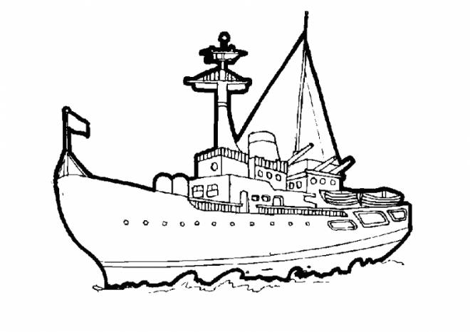 Free coloring and drawings Vector warship to color Coloring page