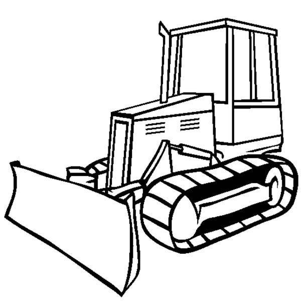Free coloring and drawings Black and white bulldozer Coloring page