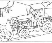 Coloring pages Bulldozer construction site