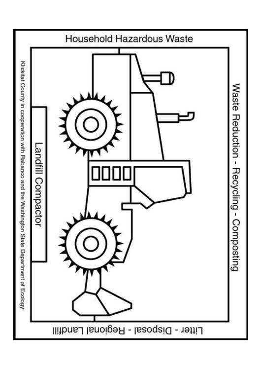 Free coloring and drawings Bulldozer for recycling Coloring page