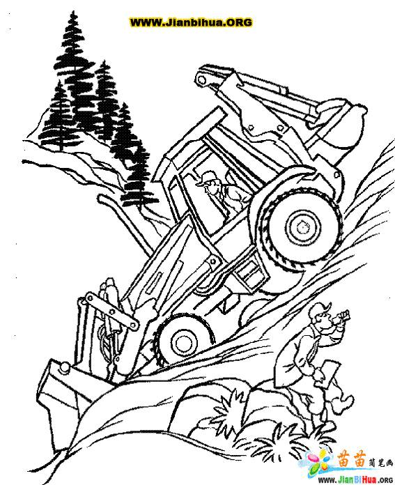 Free coloring and drawings Bulldozer in activity on the construction site Coloring page