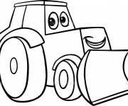 Coloring pages Bulldozer smiling