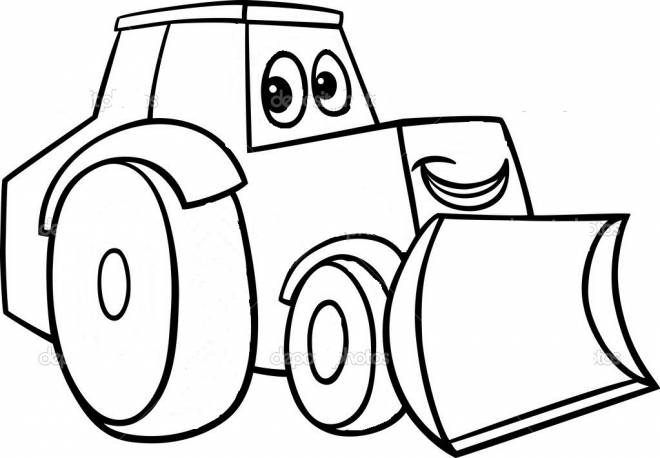Free coloring and drawings Bulldozer smiling Coloring page