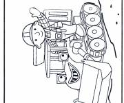 Coloring pages Cartoon worker and bulldozer