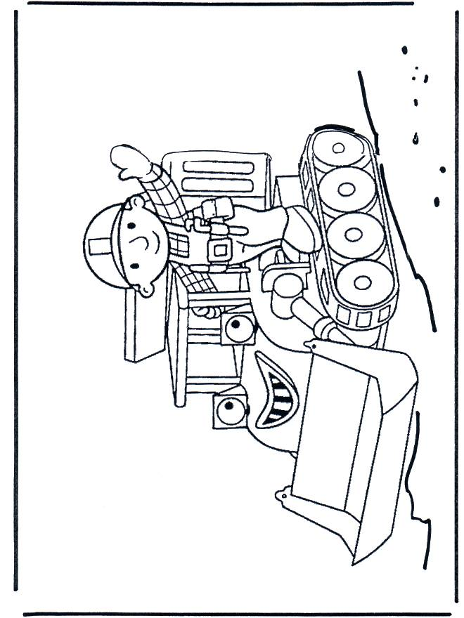 Free coloring and drawings Cartoon worker and bulldozer Coloring page