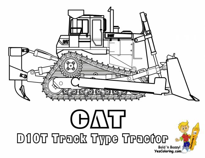 Free coloring and drawings CAT crawler bulldozer Coloring page