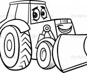 Free coloring and drawings Cute tractor Coloring page