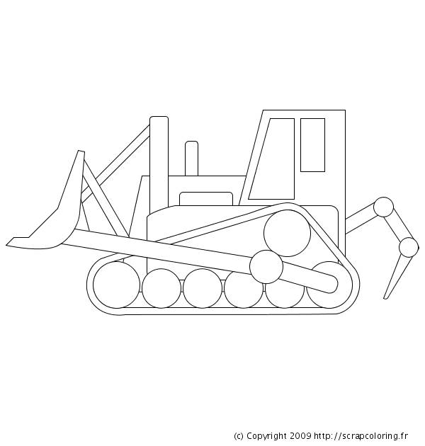 Free coloring and drawings Easy bulldozer Coloring page