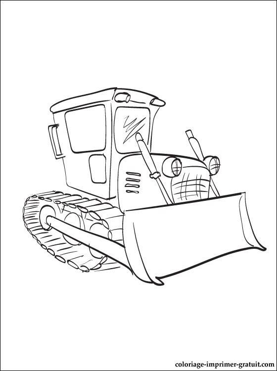 Free coloring and drawings Easy to color backhoe loader Coloring page