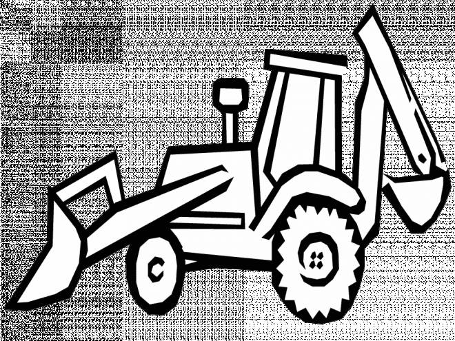 Free coloring and drawings Vector bulldozer to cut Coloring page