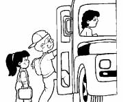 Coloring pages Bus and school bus