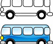 Coloring pages Bus to be colored in blue