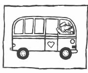 Coloring pages Child Bus and Mouse Driver