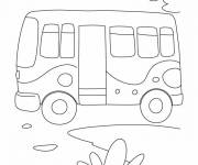 Coloring pages Child bus in pencil