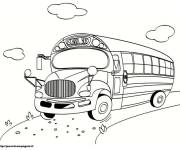 Coloring pages School bus on way