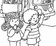 Coloring pages the bus driver opens the door for the kids