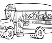 Coloring pages School bus with driver