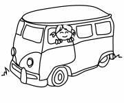 Coloring pages Smiling girl on the bus