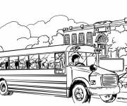 Coloring pages The school bus on the road