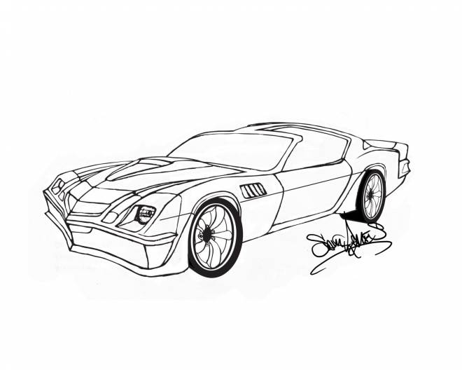 Free coloring and drawings Artistic camaro Coloring page