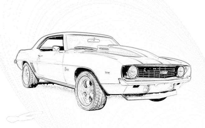 Free coloring and drawings Camaro model 1969 Coloring page
