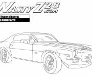 Coloring pages Camaro Z28 model 1973