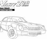 Coloring pages Camaro Z28 with its nervous engine