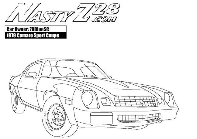 Free coloring and drawings Camaro Z28 with its nervous engine Coloring page