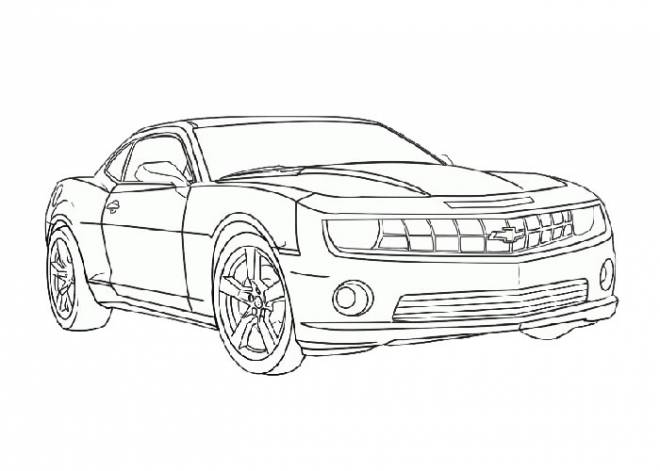 Free coloring and drawings Easy Camaro Coloring page