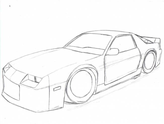 Free coloring and drawings Stylized Camaro to decorate Coloring page