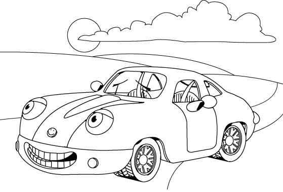 Free coloring and drawings A comical outdoor car Coloring page