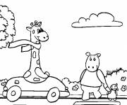 Coloring pages Animals in the Car