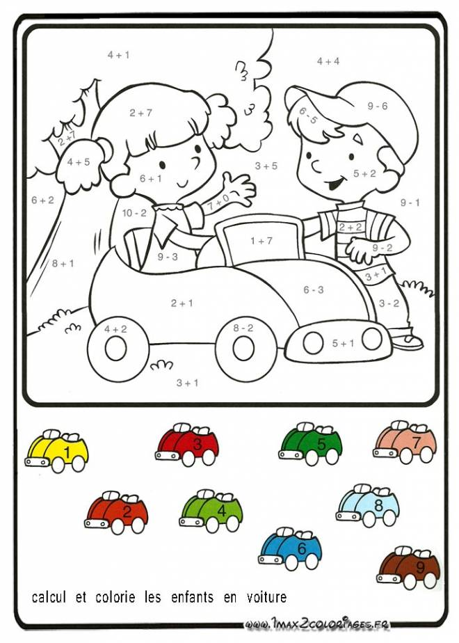Free coloring and drawings Car and kids coloring Coloring page