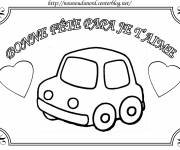 Coloring pages Car in greeting card