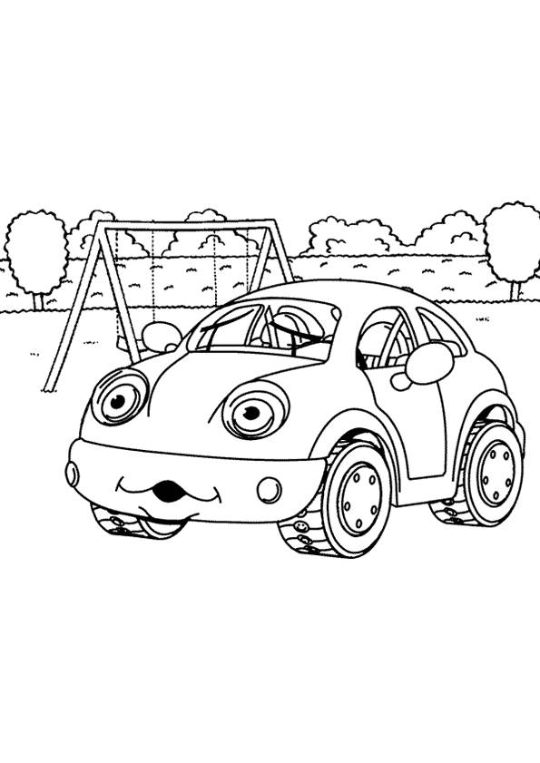 Free coloring and drawings Car in the garden Coloring page