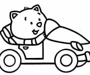 Free coloring and drawings Cat and Car for children Coloring page