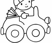 Coloring pages Child driving his toy car