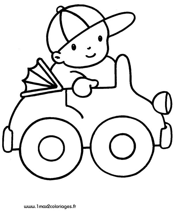 Free coloring and drawings Child driving his toy car Coloring page