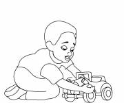 Coloring pages Child plays with his toy car