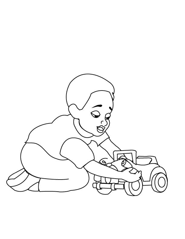 Free coloring and drawings Child plays with his toy car Coloring page