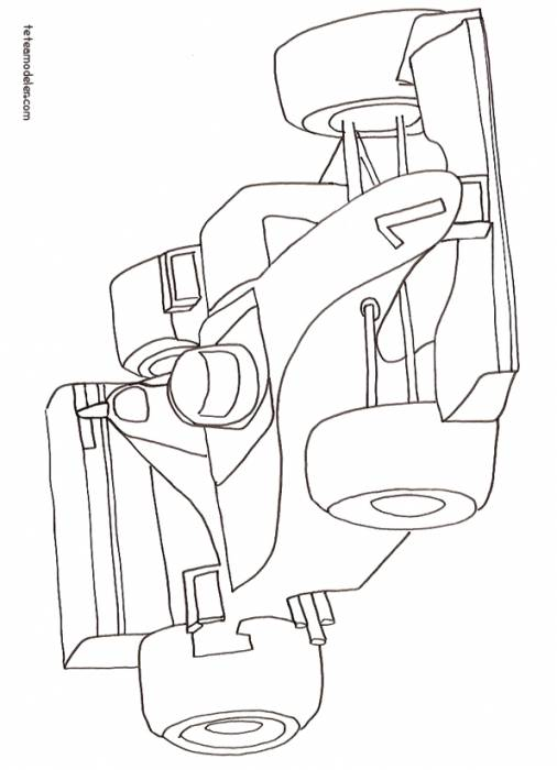 Free coloring and drawings F1 Race Car Coloring page
