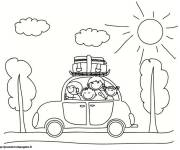 Free coloring and drawings Family by Car Coloring page