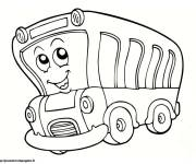 Free coloring and drawings Funny bus Coloring page