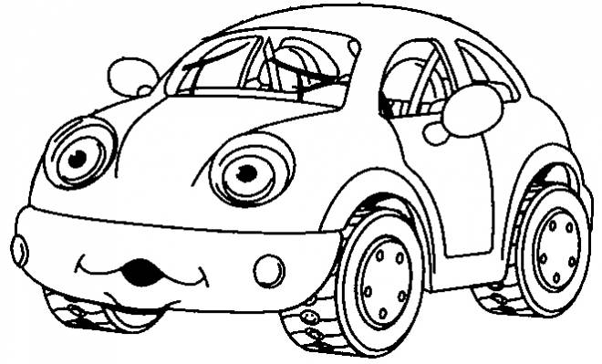 Free coloring and drawings Humorous child car Coloring page