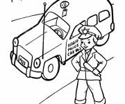 Coloring pages Police car and Child