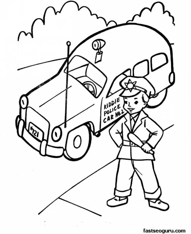 Free coloring and drawings Police car and Child Coloring page