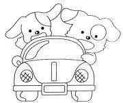 Coloring pages Puppies in their car