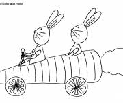 Coloring pages Rabbits in their funny car