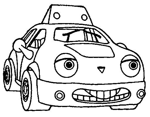 Free coloring and drawings Taxi car smiling Coloring page