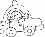 Free coloring and drawings The cute child in his Car Coloring page